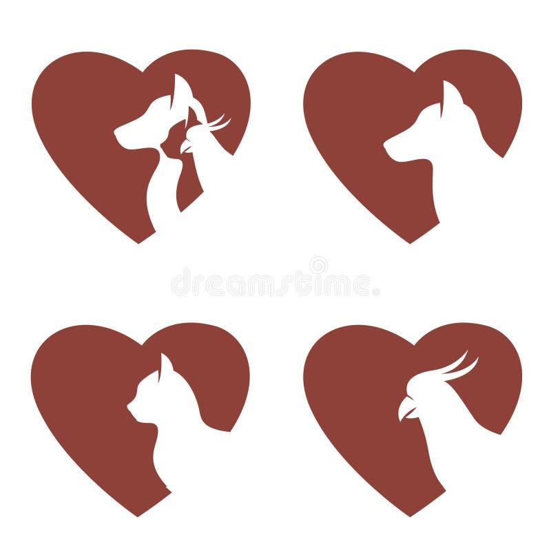 Fije de animales domésticos en corazón ilustración del vector