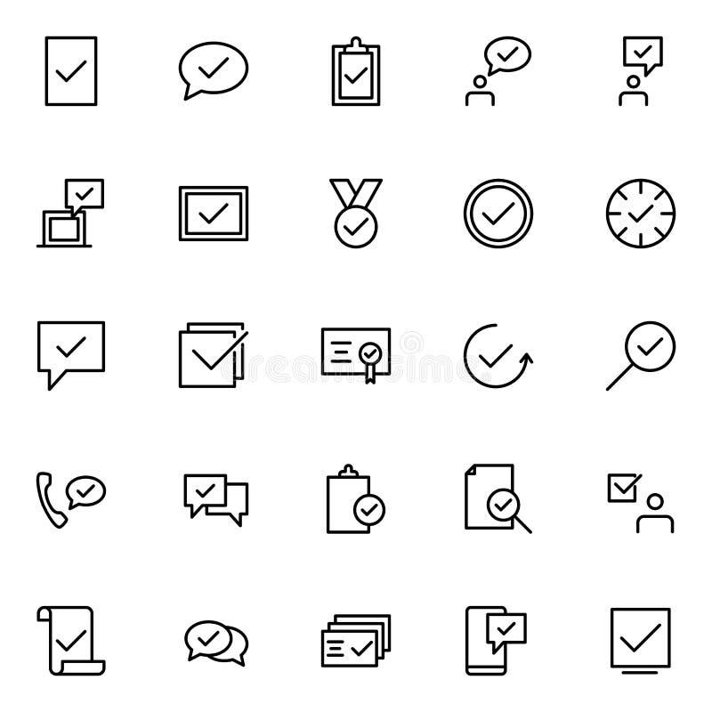 Fije de aprueban la línea iconos stock de ilustración