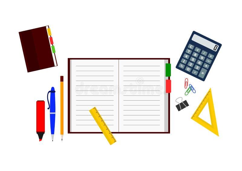 Fije de artículos de la oficina: cuaderno con la pluma y lápiz, calculadora y reglas libre illustration