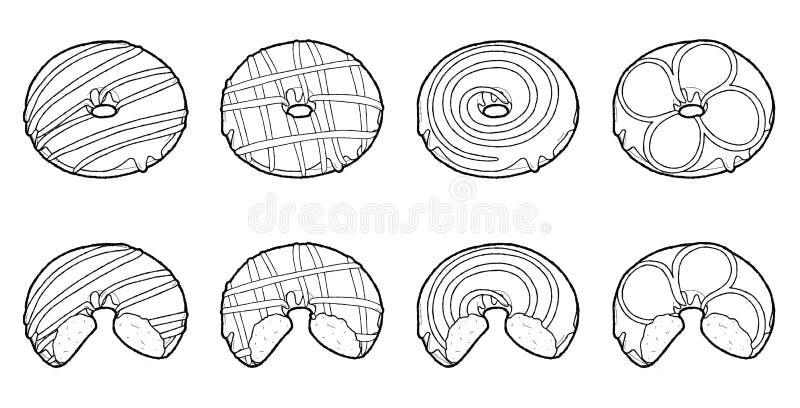Fije de arte exhausto de la historieta del postre de la mano del ejemplo del vector del buñuelo fotografía de archivo