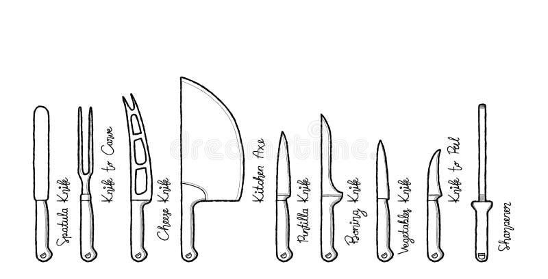 Fije de arte exhausto de la historieta de la mano del ejemplo del vector del cuchillo de cocina stock de ilustración