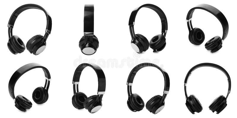Fije de auriculares negros modernos en blanco imágenes de archivo libres de regalías