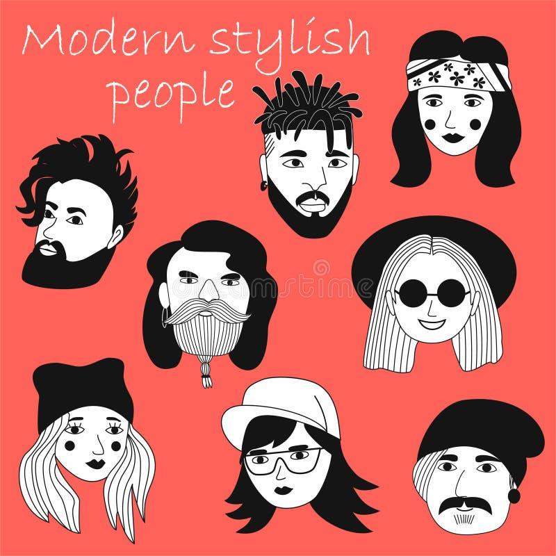 Fije de avatares de la gente en estilo plano Retratos de diversos hombres y mujeres Colección blanco y negro de moda de los icono libre illustration