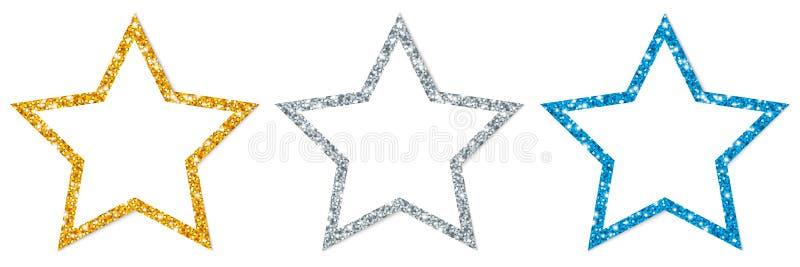 Fije de azul chispeante enmarcado de la plata del oro de tres estrellas stock de ilustración