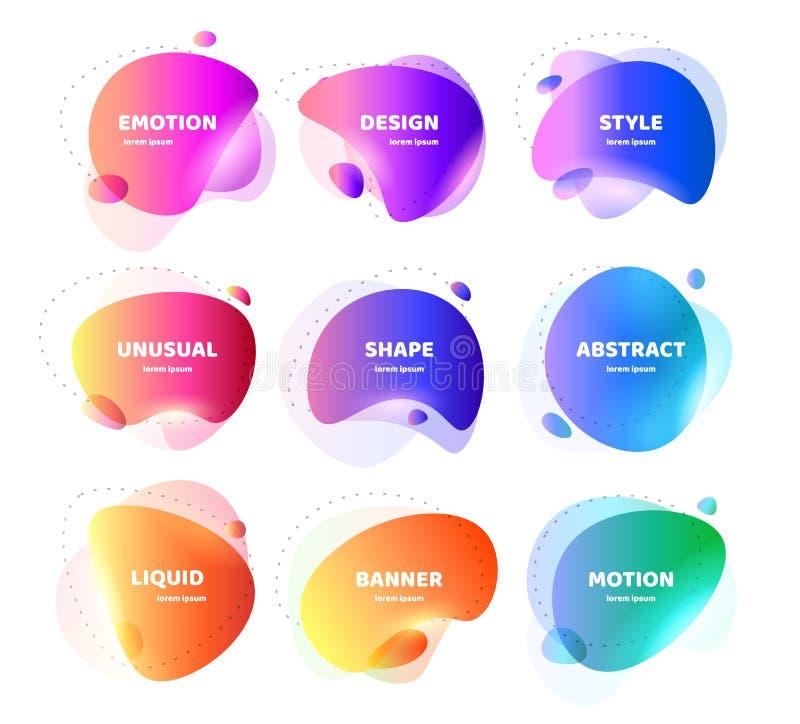 Fije de bandera abstracta moderna del vector Forma l?quida colorida geom?trica plana Plantilla coloreada de un logotipo, aviador  libre illustration
