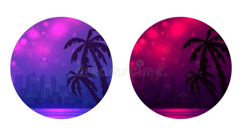Fije de bandera redonda con el ejemplo de la tarde de una playa de la ciudad con las palmeras ilustración del vector