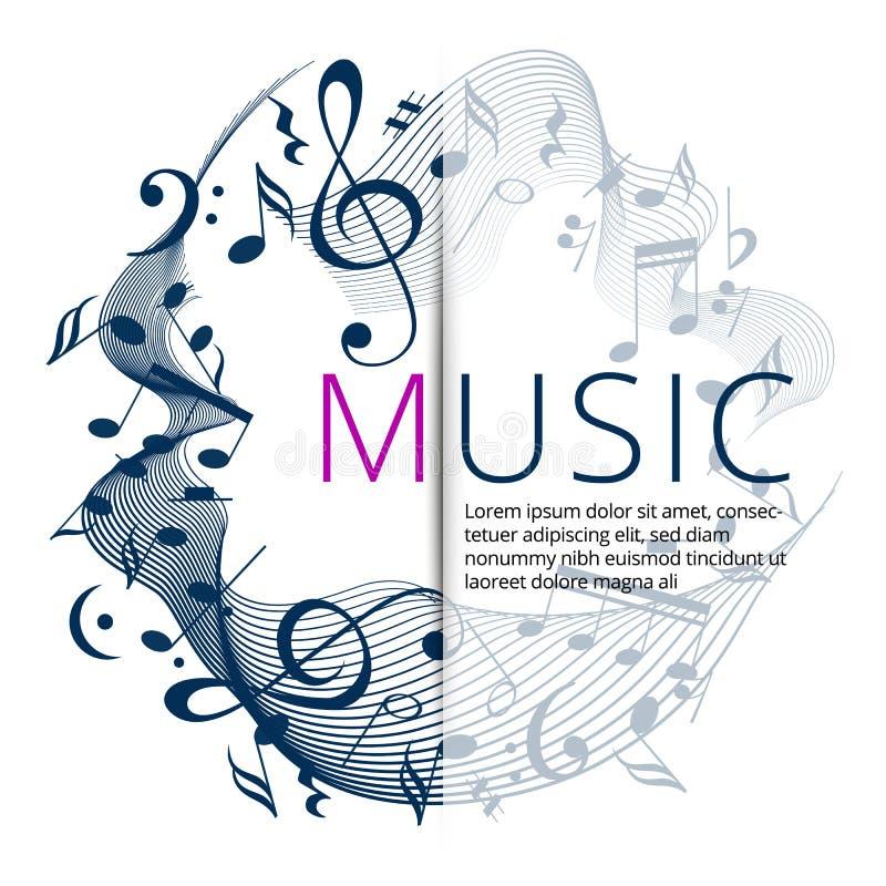 Fije de banderas abstractas con llave y las notas coloreadas de la música Plantilla de la bandera para la música festiva y el par libre illustration