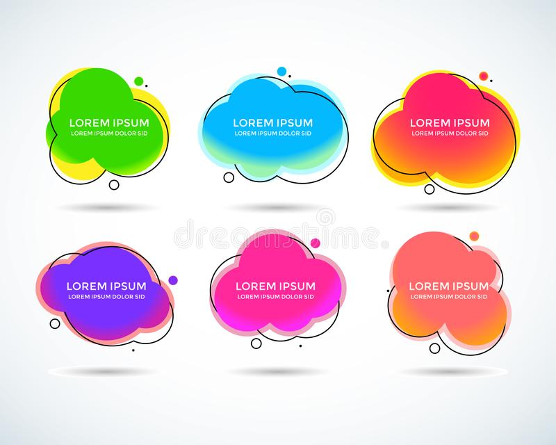 Fije de banderas abstractas modernas del vector Formas geométricas coloridas de diversos colores con el esquema negro en estilo d stock de ilustración