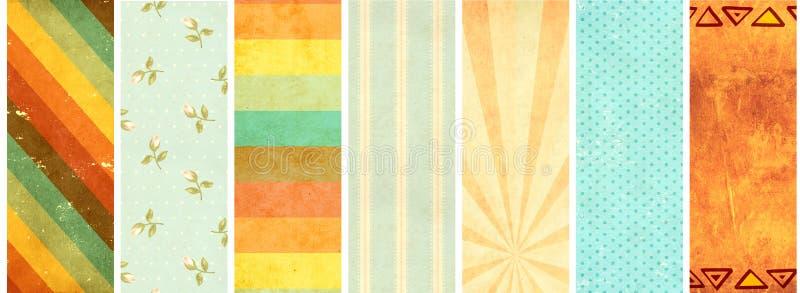Fije de banderas con vieja textura de papel ilustración del vector