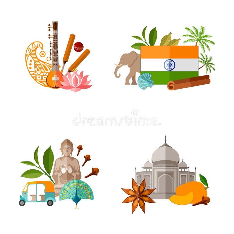 Fije de banderas del viaje con s?mbolos indios populares Ejemplo del vector en el tema del turismo ilustración del vector
