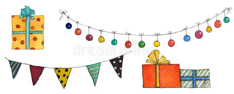 Fije de banderas, de lámparas y de regalos de la Navidad ilustración del vector