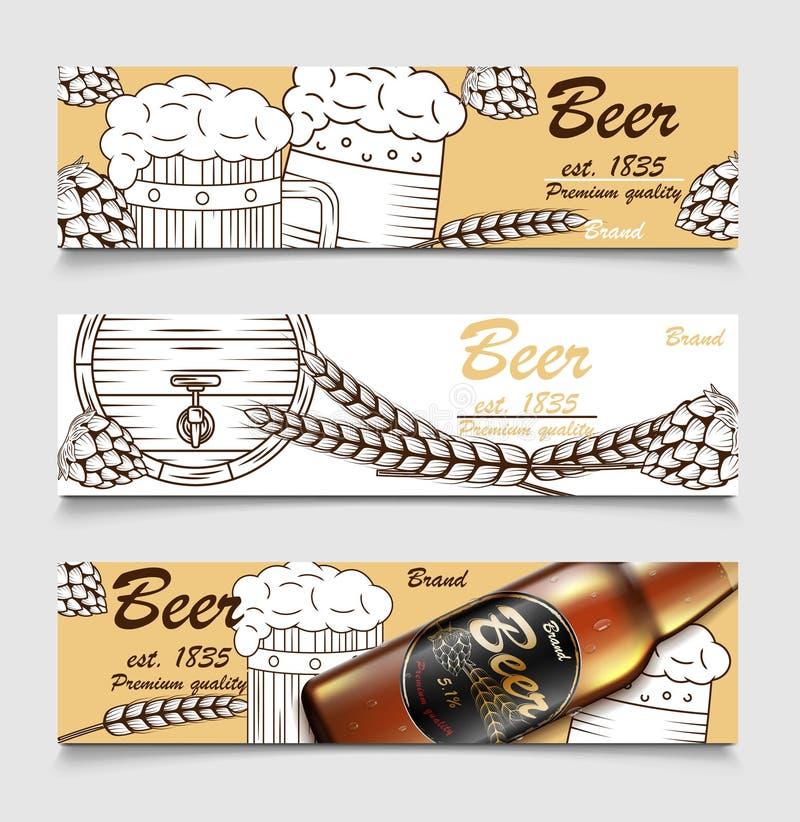 Fije de banderas de la historieta con los vidrios, la botella y los saltos de cerveza Diseño de la bandera del vintage de la cerv ilustración del vector