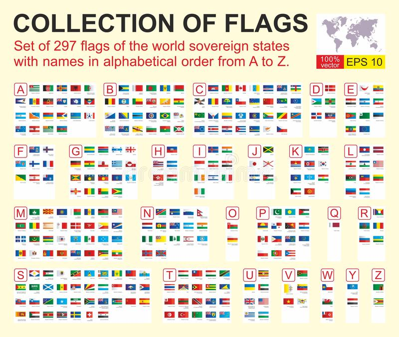 Fije de 297 banderas de los estados soberanos del mundo con nombres en orden alfab?tico de A a Z Ilustraci?n del vector libre illustration