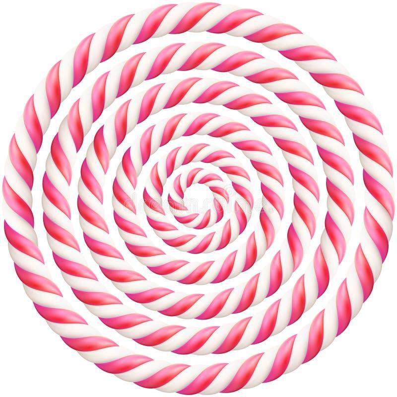 Fije de bastidor torcido rosado de bastón de caramelo duro con la sombra EPS 10 ilustración del vector
