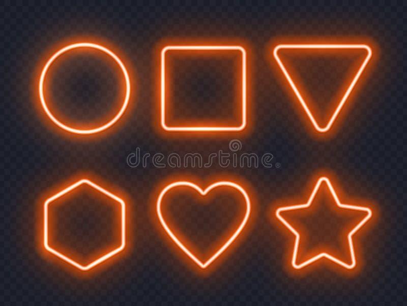 Fije de bastidores de neón que brillan intensamente anaranjados en fondo oscuro ilustración del vector