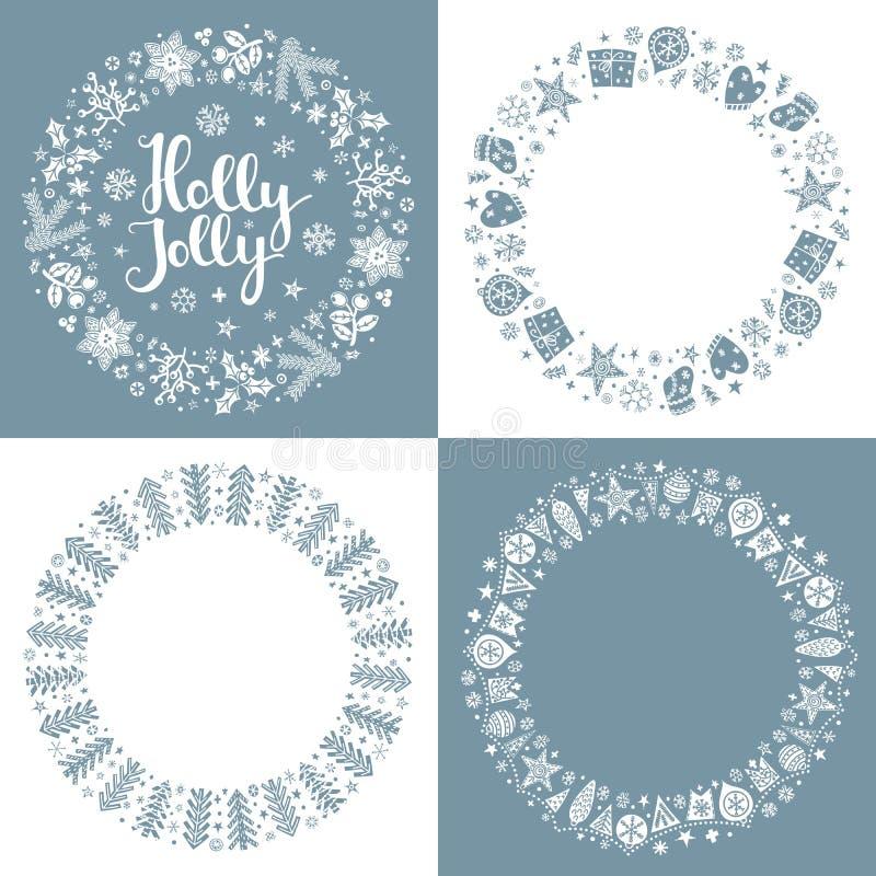 Fije de bastidores de saludo de Navidad ilustración del vector