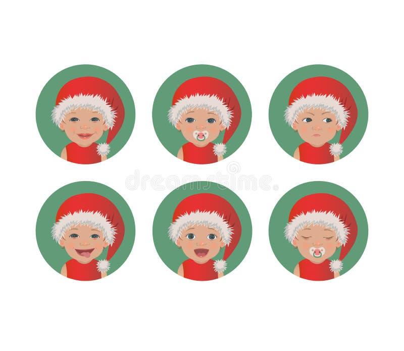Fije de bebé lindo que Santa Claus hace frente a expresiones Niño de la feliz Navidad en los avatares rojos del sombrero de Papá  ilustración del vector
