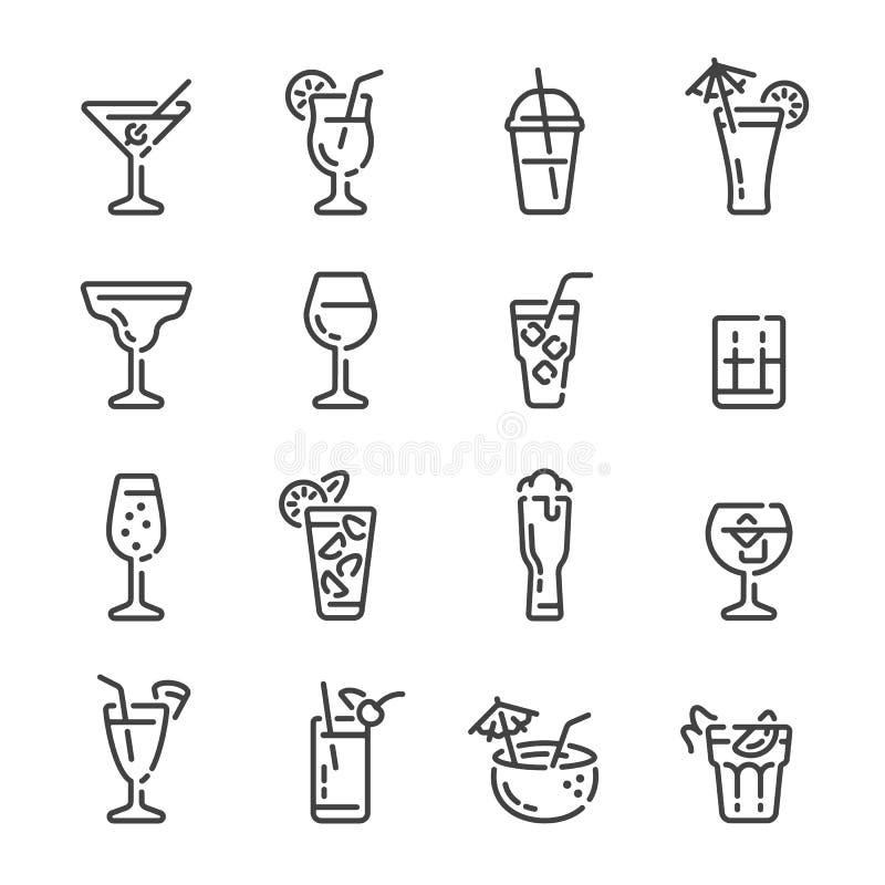 Fije de bebidas alcohólicas y de iconos del esquema de los cócteles Ilustraci?n del vector stock de ilustración