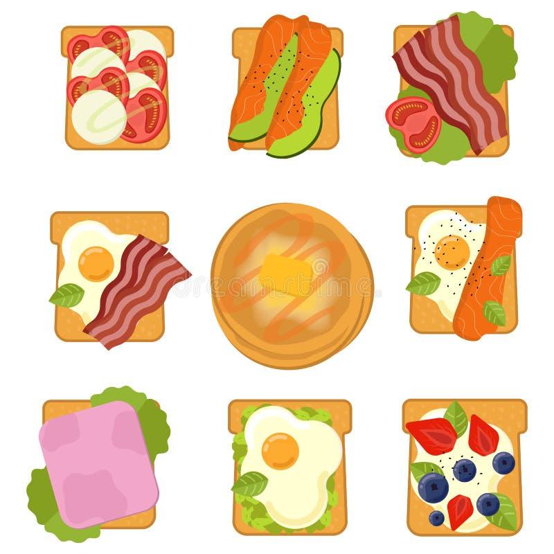 Fije de bocadillos con diverso ejemplo del vector de los ingredientes ilustración del vector