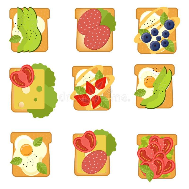 Fije de bocadillos con diversos ingredientes Tostada con el aguacate, salami, queso, salmón, bayas, fresa, higo Alimento sano stock de ilustración