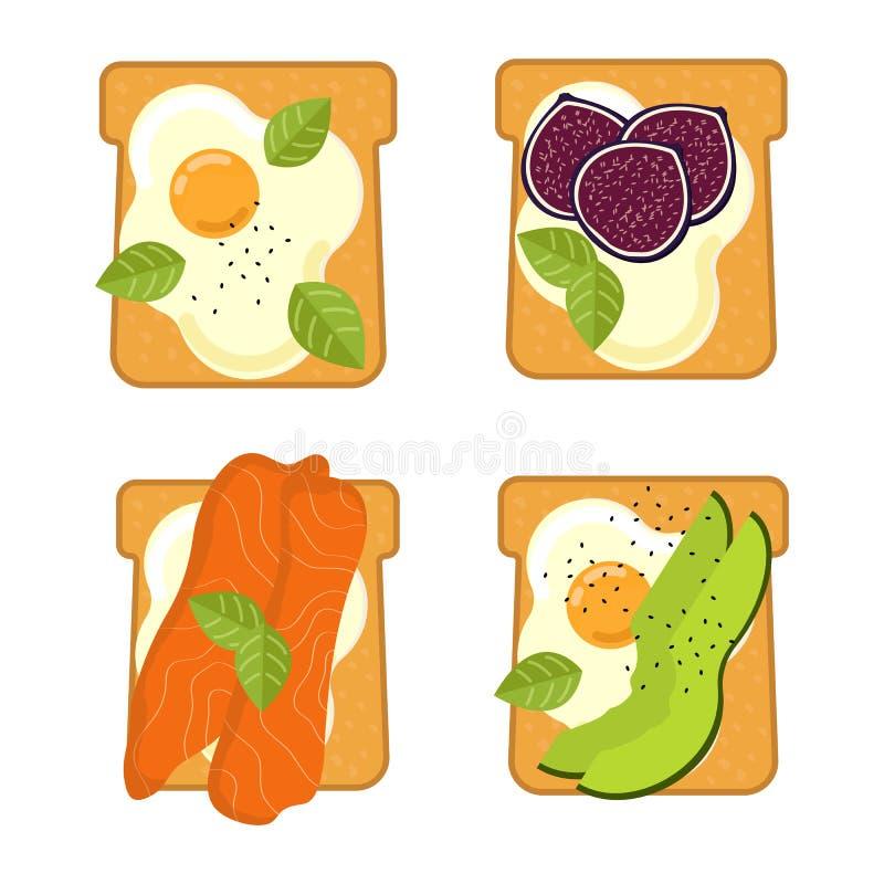 Fije de bocadillos con diversos ingredientes Tostada con el aguacate, salami, queso, salmón, bayas, fresa, higo Alimento sano libre illustration