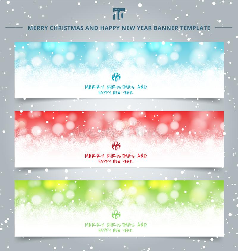 Fije de bokeh del blanco puro de la web de las banderas de la Navidad y de fondo festivo chispeante de las luces libre illustration