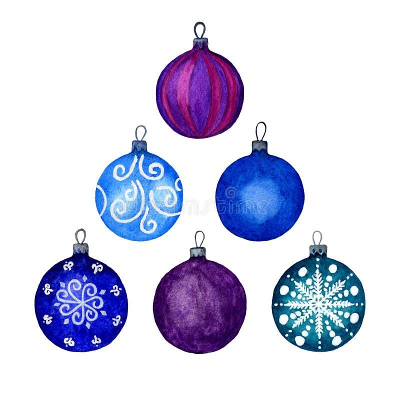 Fije de bolas decorativas de los elementos de la Navidad, azules y púrpuras Elementos separados en un fondo blanco Illustratio de libre illustration
