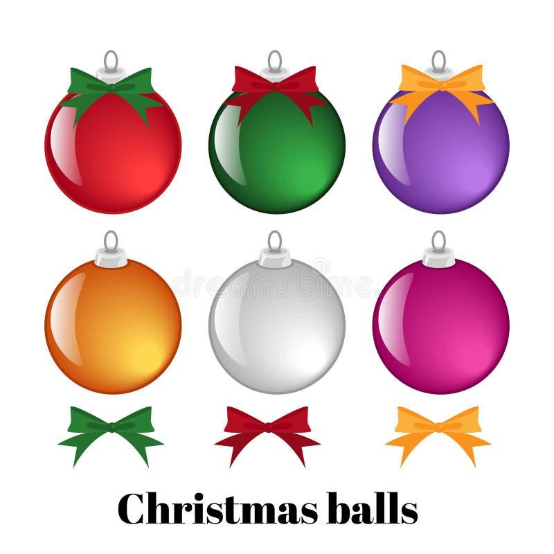 Fije de bolas y de cintas coloridas de la Navidad stock de ilustración