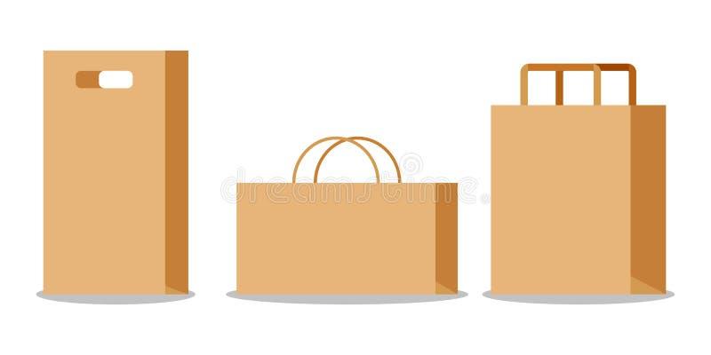 Fije de bolsa de papel marrón vacía de Kraft con las manijas ilustración del vector