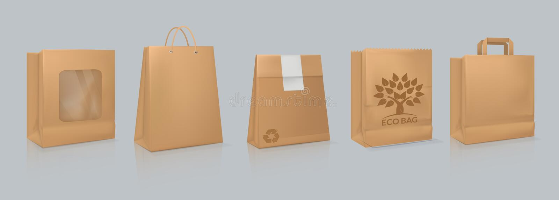 Fije de bolsa de papel realista de la maqueta, color nata, con el logotipo stock de ilustración