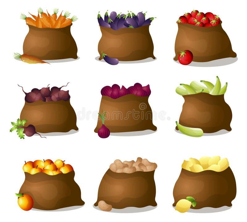 Fije de 9 bolsos de la materia textil con las verduras y las frutas frescas del eco stock de ilustración
