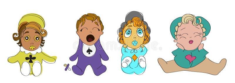 Fije de bosquejos de los muchachos y de las muchachas de bebés en color libre illustration
