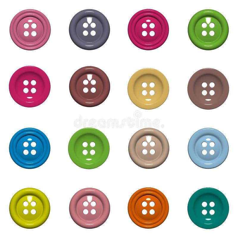 Fije de 16 botones aislados en el fondo blanco imagen de archivo