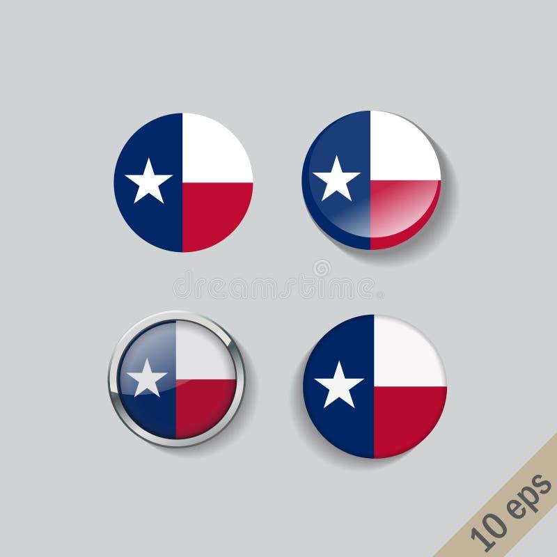 Fije de botones redondos con la imagen de la bandera del estado de Tejas en fondo gris con la sombra stock de ilustración