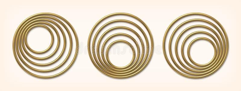 Fije de círculo excéntrico de oro enmarca el ejemplo del vector ilustración del vector