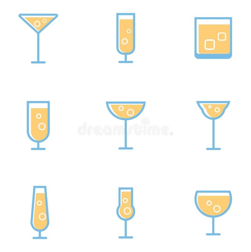 Fije de cócteles y de bebidas simples del alcohol ilustración del vector
