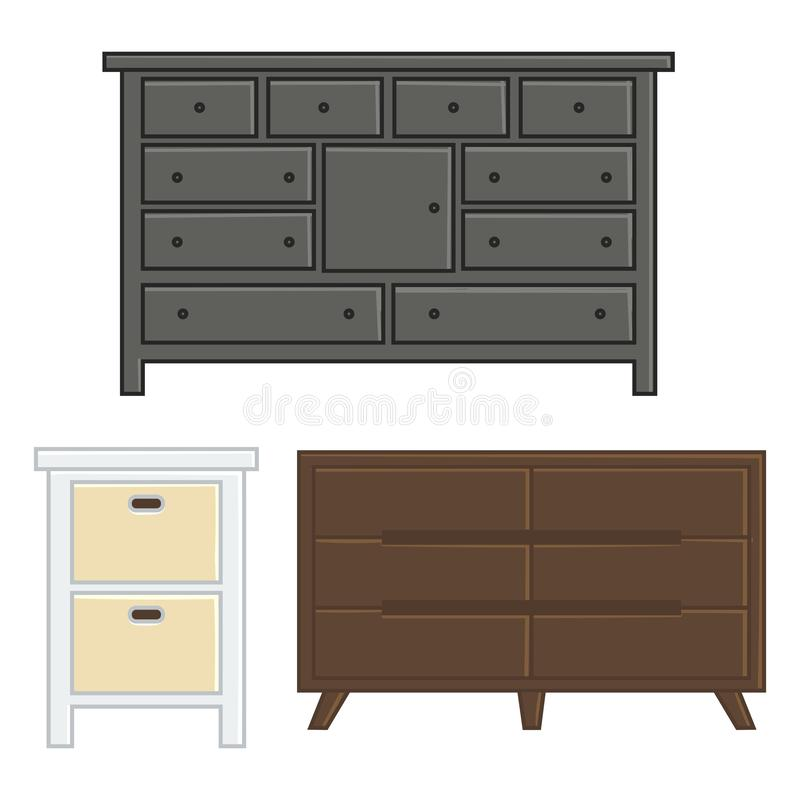 Fije de cajón y del gabinete del ejemplo del vector stock de ilustración