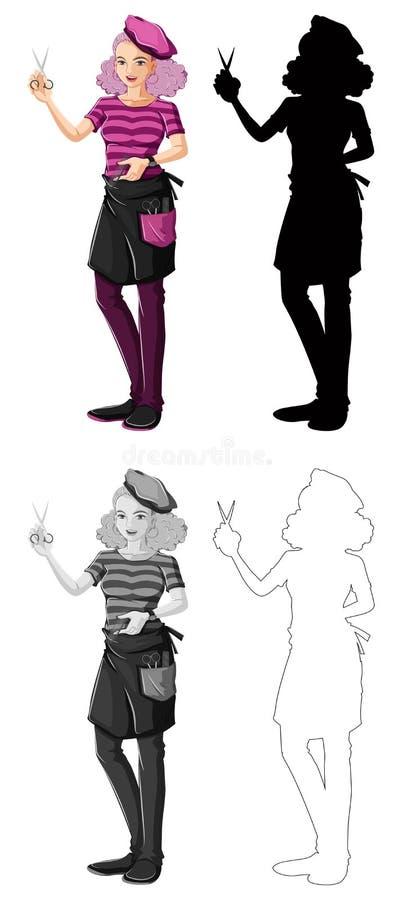 Fije de carácter femenino del peluquero stock de ilustración