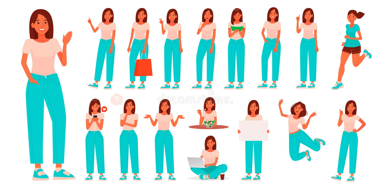 Fije de carácter a una mujer joven en ropa de sport Contratan a la muchacha con diversos actitudes y gestos, a actividades diaria libre illustration