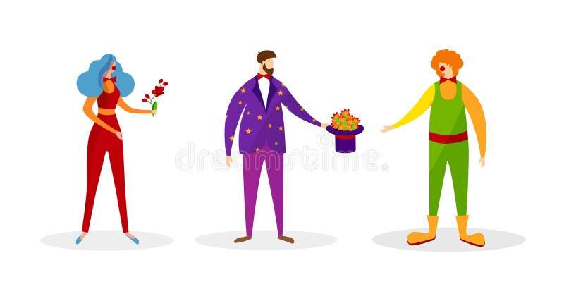 Fije de caracteres en los trajes artísticos para la demostración ilustración del vector