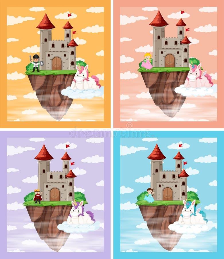 Fije de castillo medieval stock de ilustración