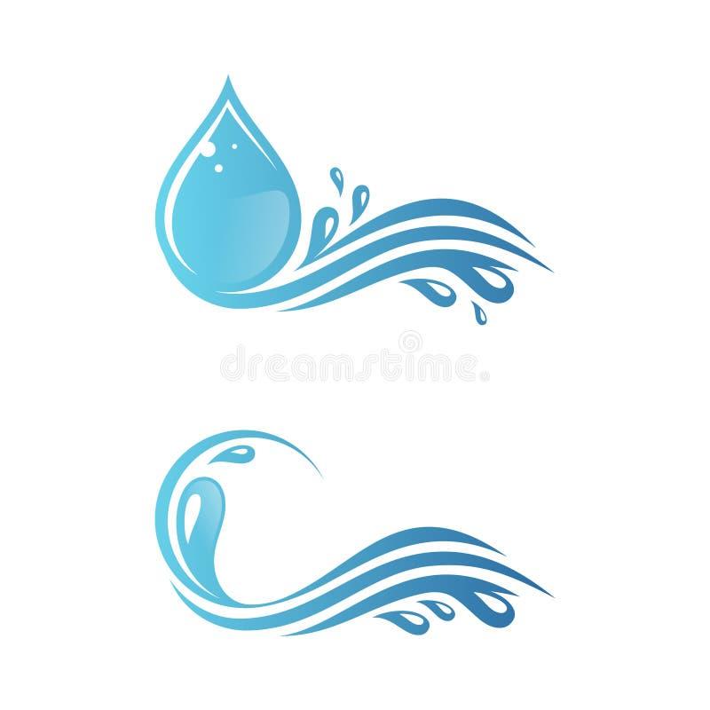 Fije de chapoteo del agua azul con la gotita para su mejor símbolo del negocio ilustración del vector