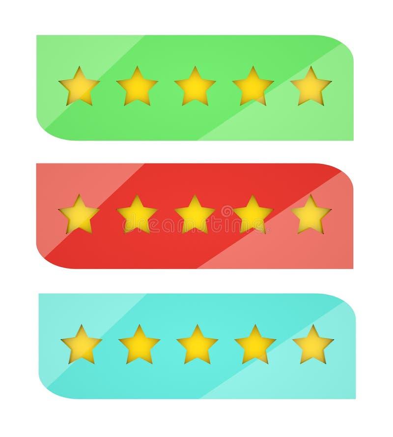 Fije de cinco estrellas que valoran elementos del diseño en el diseño brillante moderno 3D Barras espesas con efecto del espejo imagen de archivo