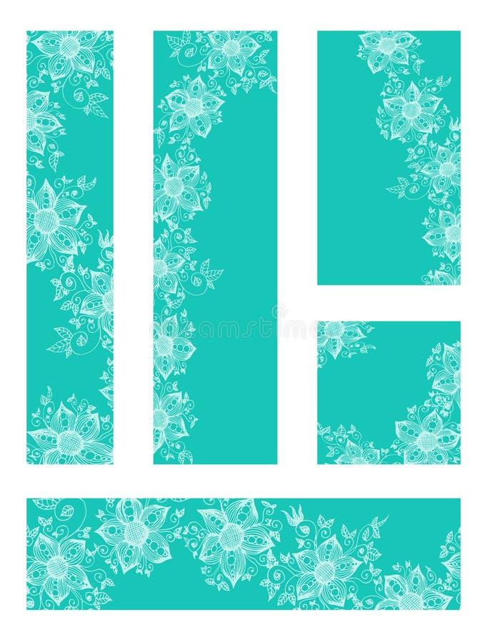 Fije de cinco plantillas de la bandera de la web con las flores exhaustas de la mano Ejemplo floral del vector stock de ilustración