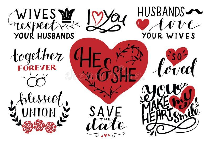 Fije de 9 citas de las letras de la mano alrededor lo y la Excepto la fecha Junto por siempre Unión bendecida Ama tan marido espo ilustración del vector