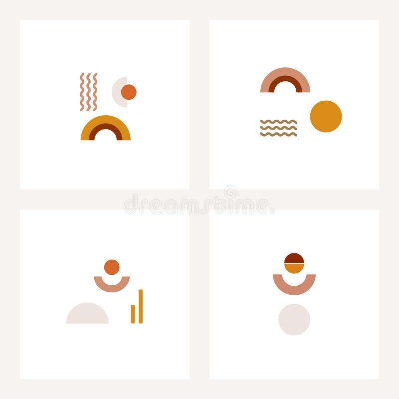Fije de composiciones geométricas simples ilustración del vector