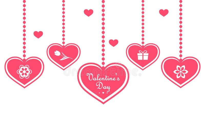 Fije de corazones colgantes rosados con símbolos, tales como regalo y flores, aislados en un fondo blanco Día feliz del `s de la  ilustración del vector