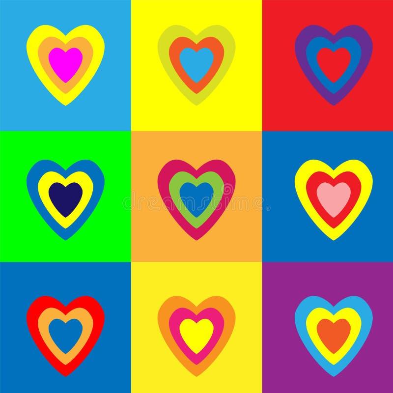 Fije de corazones coloridos en fondo del color Ilustración del vector stock de ilustración