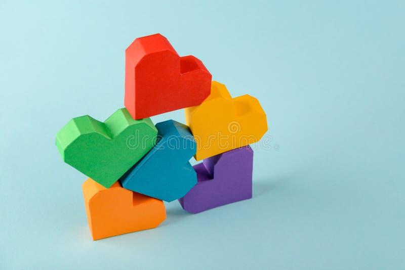 Fije de corazones del arco iris de LGBT foto de archivo libre de regalías