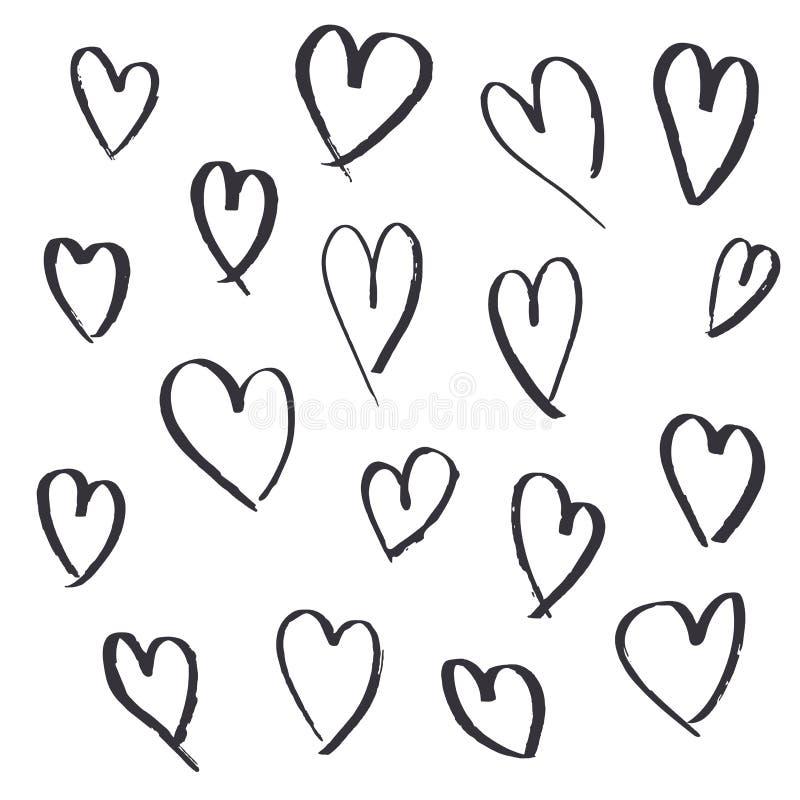 Fije de corazones exhaustos de la mano en el fondo blanco stock de ilustración